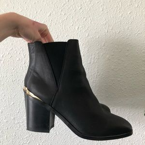 asos black boots with gold heel